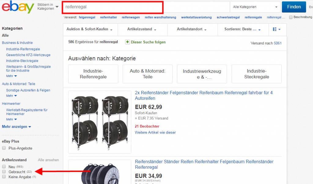 Reifenregal gebraucht bei Ebay